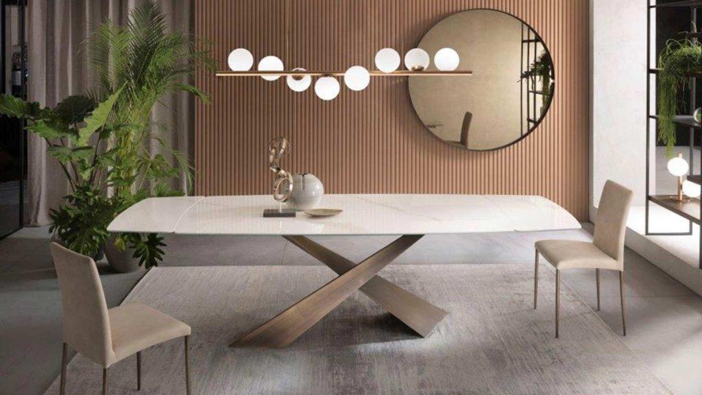 tavolo living in ceramica di riflessi